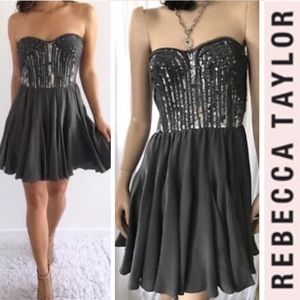 REBECCA TAYLOR  Sequined Strapless Cocktail Dress